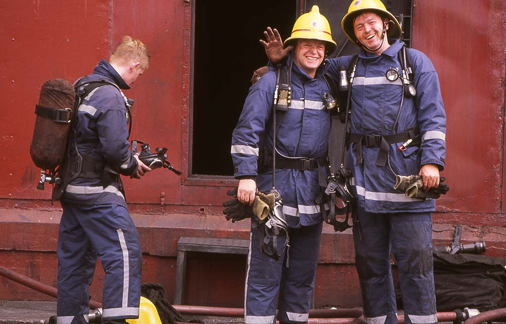 Firemen training at 'The Ship'   -   McDonald Road Fire Station  -  30 May 1995  -  Large Photo