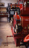 Three old fire engines in the museum at Lauriston Place Fire Station  -  26 July 1994