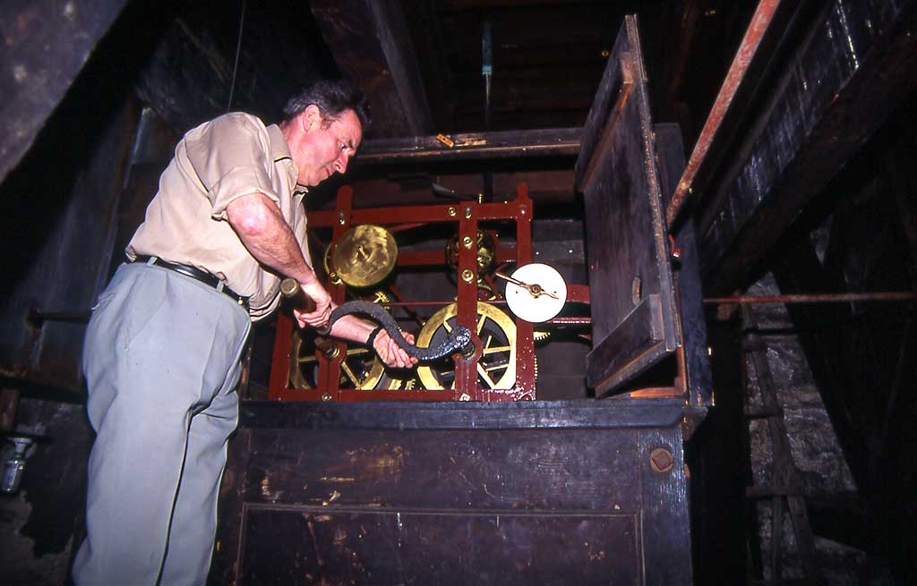 The clockwinder, winding the clock at St Stephens Church  -  1993
