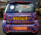 A car advertising 'Sort My PC' business, Colinton Road, Colinton  -  February 2013