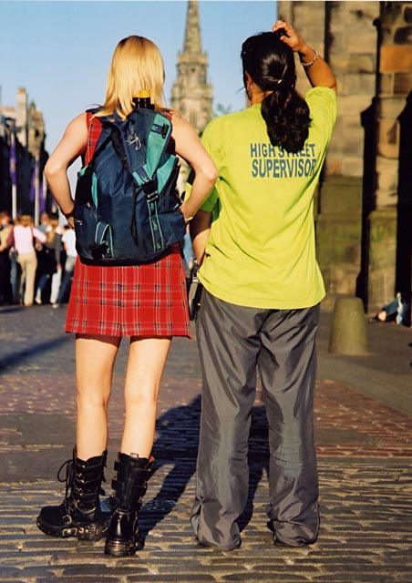 Photograph by Peter Stubbs  -  Edinburgh  -  August 2002  -  The Royal Mile in sunny weather