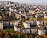 Photograph by Peter Stubbs  -  Edinburgh  -  November 2002  -  View to the west from the slopes of Arthur's seat in Queen's Park looking towards Edinburgh Castle