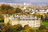 Photograh by Peter Stubbs  -  Edinburgh  -  November 2002  -  Looking down on Holyrood Palace from the slopes of Arthur's Seat in Queen's Park