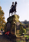 Photograph by Peter Stubbs  -  Edinburgh  -  November 2002  -  The Royal Scots Greys statue in West Princes Street Gardens with  Remembrance Day Wreathes