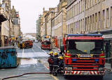 Photograph by Peter Stubbs  -  Edinburgh  -  December 2002  -  Fire in the Old Town of Edinburgh  -  South Bridge