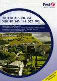 Photograph of Salisbury Crags in Holyrood Park and Canongate area on the cover of a First Bus Timetable, Falkirk Area