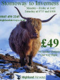 An Advert for Highland Airways, featuring  my photo of a highland cow near Crianlarich