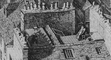 Howie's rooftop studio  -  Detail from an Ebsworth engraving
