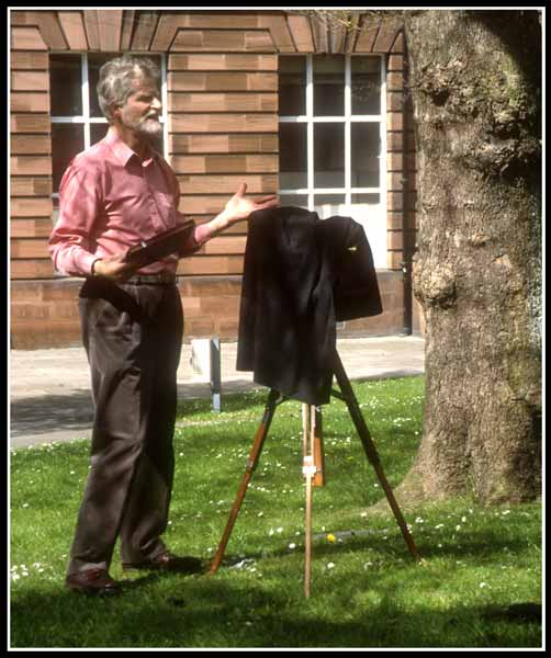 Richard Morris takes a Calotype photograph in the grounds of the Edinburgh College of Art  -  May 2002