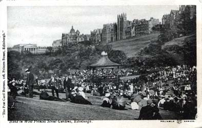 Post Card  -  Princes Street Gardens and Bandstand  -  WR & S - Reliable Series