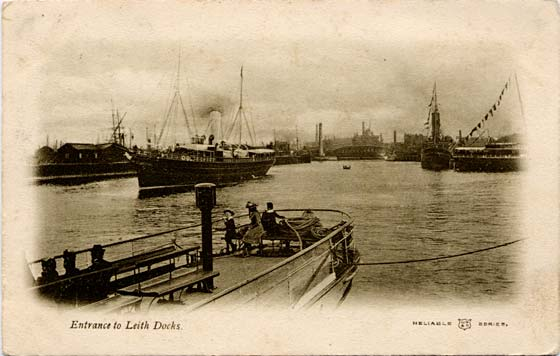 Post Card  -  Entrance to Leith Docks  -  Posted 1903