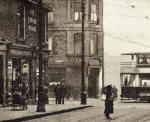 Zoom-in on the detail of a postcard  -  Publisher unidentified  -  Ferry Road, Tram Crossing