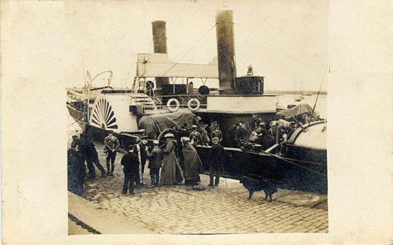 Post card of horses being loaded at Granton Harbour for manoueuvres
