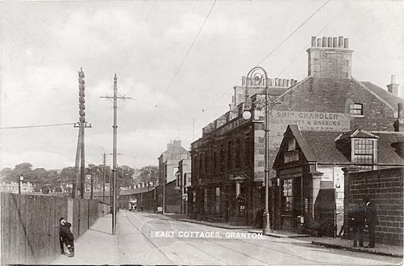 Postcard by an unidentified publisher  -  Looking to the east along Lower Granton Road