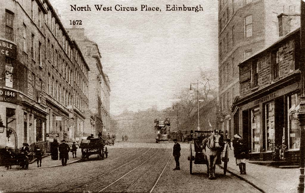 Caledonia Series Postcard by an unidentified publisher  -  North West Circus Place, Stcokbridge, Edinburgh