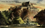 Postcard of the Ross Fountain in Princes Street Gardens and Edinburgh Castle in the style of an oil painting