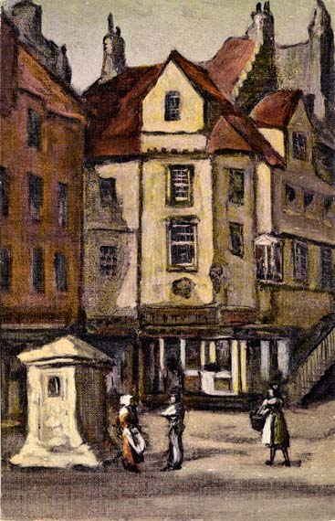 Postcard of John Knox House in the style of an oil painting