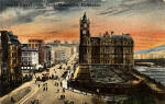 Postcard of Princes Street, looking east from the Scott Monument towards the Balmoral Hotel, in the style of an oil painting