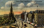 Postcard of Princes Street, looking to the west from the Balmoral Hotel towards the Scott Monument, in the style of an oil painting