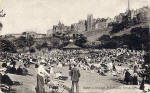 Postcard by an unidentified publisher  -  Princes Street Gardens  -  Bandstand and Audience