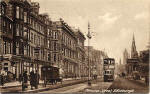 Postcard by an unidentified publisher  -    Looking to the east along Princes Street with a 'GR' Post Office Mail van on the northern side of the street