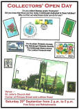 Poster for Collectors' Open Day - hosted by Edinburgh stamp clubs and Lothian Postcard Club  -  September 29, 2012