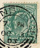 Halfpenny stamp on a postcard posted 1903