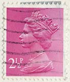 Queen Elizabeth II stamp  -  2.5p