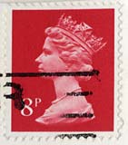 Queen Elizabeth II stamp  -  8p