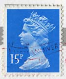 Queen Elizabeth II stamp  -  15p
