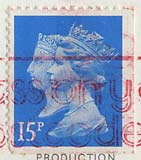 Queen Elizabeth II stamp  -  15p  -  150th Anniversary of the Penny Black stamp
