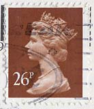 Queen Elizabeth II stamp  -  26p