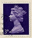 Queen Elizabeth II stamp  -  3d