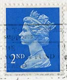 Queen Elizabeth II stamp  -  2nd Class Postage
