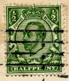 Halfpenny stamp on postcard posted 1912