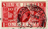 Penny Silver Jubilee commemorative stamp on a postcard posted 1935