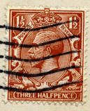 Three halfpenny stamp on postcard posted 1922