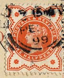 Halfpenny stamp on a postcard posted 1899