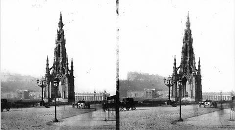 The Scott Monument - Stereoscopic View by Begbie