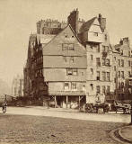 Enlargement of a Stereo View by Archibald Burns  -  Head of West Bow, Edinburgh