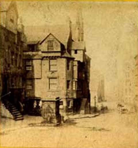 Enlargement from stereo view by Archibald Burns  -  John Knox House in the Royal MIle