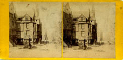 John Knox House in the Royal Mile  -  an older stereo view by Archibald Burns