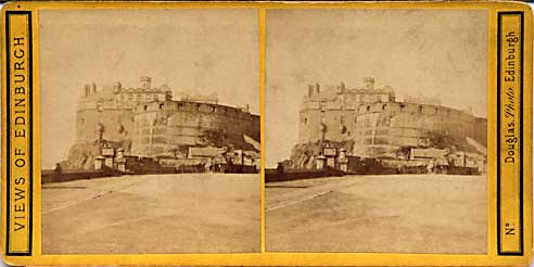 Stereo view by Douglas  -  Edinburgh Castle from the Castle Esplanade
