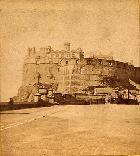 Enlargement from a stereo view by Douglas  -  Edinburgh Castle from the Castle Esplanade