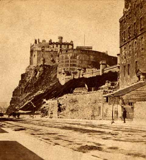 Enlargement from a stereo view by Douglas  -  Edinburgh Castle from Johnson Terrace