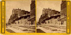 Stereo view by Douglas  -  Edinburgh Castle from Johnson Terrace