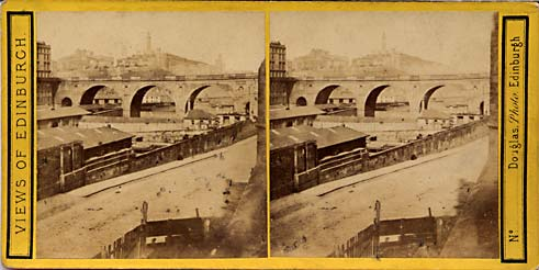 Stereo view by Douglas  -  View towards Calton Hill and Edinburgh Jail