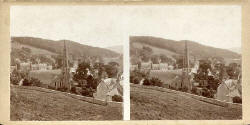 Stereo view by John Donaldson Edward  -  Stow  -  View from the hill.