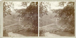 Stereo view by John Donaldson Edward  -  Wooden Bridge at Stow