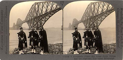 Stereo views by Keystone View Company  - The Forth Bridge and Pipers by Keystone View Company